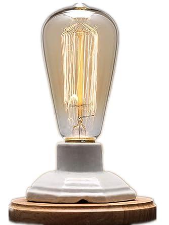 YUENSLIGHTING Lámparas de mesa de madera de la base de la cerámica de la vendimia blanca con el interruptor Dimmable Base de E27 (ninguÌ n bulbo) ...