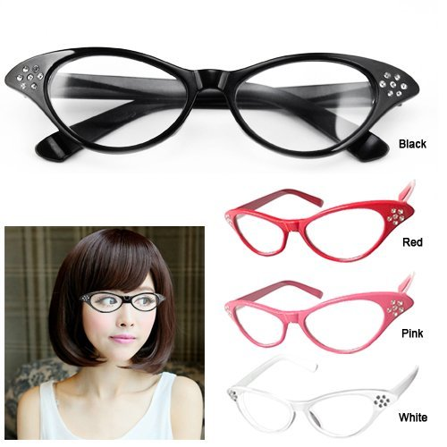998dd8739d SWT Pink 50 s Grease Retro Ladies Girls Cat Eye Glasses Rock Roll Fancy  Dress  Amazon.co.uk  Toys   Games