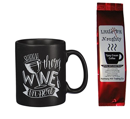 SHHHH There's Wine in Here Black Mug with Little Bit Naughty Tipsy Cream Coffee Gift Set 2 Piece Bundle (Gift Baskets Liquor)