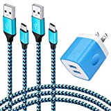 Ououdee 2.1A Dual Port Plug Wall Charger Blcok + 6ft Type c Fast Charger Nylon Braided Cable for Samsung Galaxy S10 Plus S10e S8 S9 Note 9 8, LG G7 G6 G5 Q7 V20 V30 V40, Moto Z3 Z4 Z2, OnePlus 6T 5T