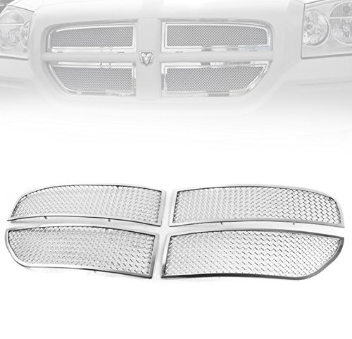 Dodge Magnum Mesh (ZMAUTOPARTS Dodge Magnum Front Upper Stainless Steel Mesh Grille Grill Chrome 2Pcs)