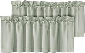 """H.VERSAILTEX Luxury Room Darkening Window Curtain Valances Sage, 52""""x18"""", 2 Pack Rod Pocket Matching with Same Pattern Curtains"""