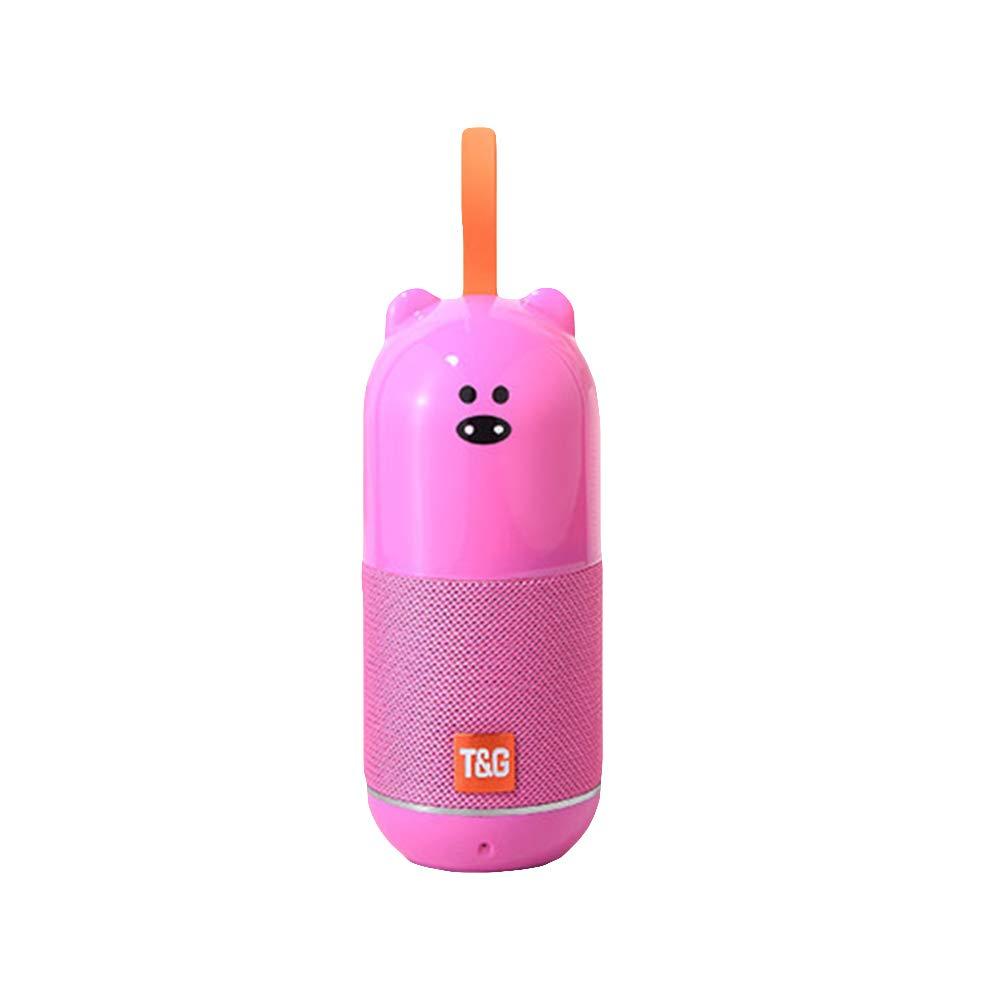 yunbox299_スピーカー ラウドスピーカーホーン、漫画動物防水ワイヤレスBluetoothステレオミュージックスピーカー サウンドブームボックス - イエロー B07QKKMC7G ピンク