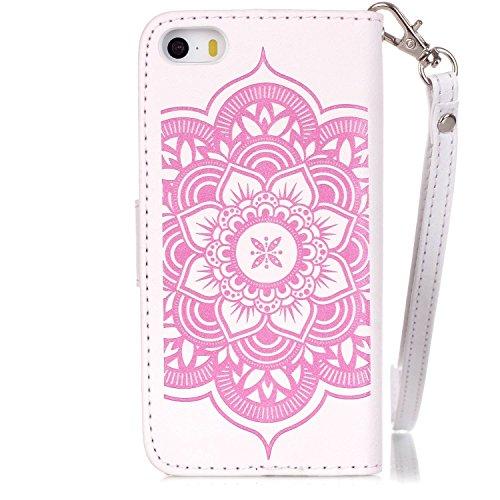 Voguecase® für Apple iPhone 5 5G 5S hülle, Kunstleder Tasche PU Schutzhülle Tasche Leder Brieftasche Hülle Case Cover (Diamant/Campanula Blume/Weiß/Pink) + Gratis Universal Eingabestift