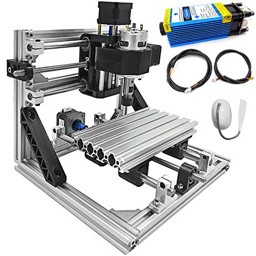 Mophorn Cnc Machine 1610 Grbl Control Cnc Router Kit 3 Axis Pcb Laser Engraver 160X100X40Mm With 5500mW Blue Light Laser Module And Lamp