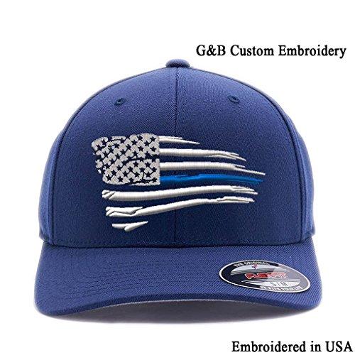 New American Thin Blue Line Waving Flag. 6477 Flexfit Wool Blend Cap (L/XL, - New Line Shop