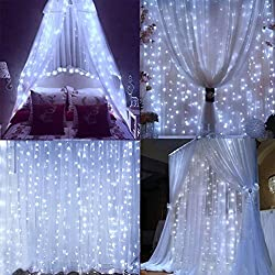 Lightess 300 Led String Fairy Light Outdoorindoor Curtain Light For Holiday Decoration (Cold White)