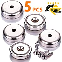 """X-bet MAGNET TM Neodymium Disc Countersunk Hole Magnets - 1.26"""" Diameter - 70 Lbs Pulling Force. Strong, Permanent, Rare Earth Magnets (5 Pcs with Mounting Screws in Box)"""