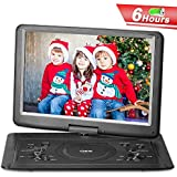 QKK Upgraded Version 15.4 Inch Portable DVD Player with 6 Hours Build-in Rechargeable Battery, 270°Swivel Screen, 5.9 ft Car Adapter, Supports Region Free, USB Port and SD Card (Black)