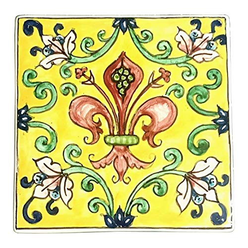CERAMICHE D'ARTE PARRINI - Italian Ceramic Art Tile Pantiles Pottery Hand Painted Decorated Lily Made in ITALY Tuscan