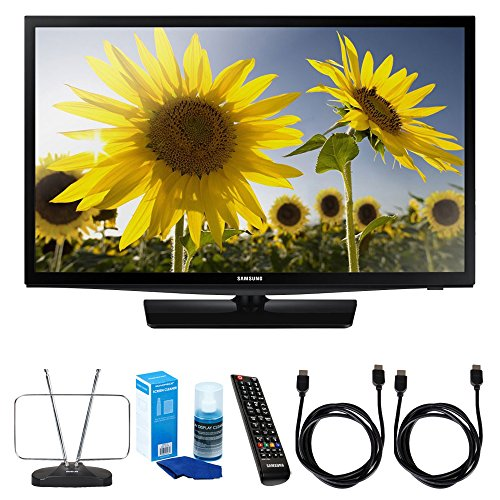 Samsung (UN24H4000) 24-inch 720p HD Slim LED TV Clear Motion Rate 120 w/ TV Cut the Cord Bundle Includes, Durable HDTV and FM Antenna, Universal Screen Cleaner & 2x 6ft High Speed HDMI Cable - Black (Samsung Av Cable Tv)