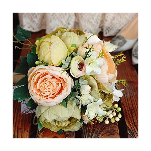 HiiARug Handmade Wedding Bouquets, Artificial Peony Rose Artificial Flower Bouquet Bride Bridesmaid Holding Flower (Champagne&Green)