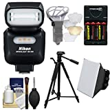 Nikon SB-500 AF Speedlight Flash & LED Video Light with Tripod + Batteries & Charger + Softbox + Reflector Kit for D3400, D3300, D5500, D5300, D7200, D7100, D500, D610, D750, D810, D5 Cameras