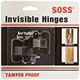 SOSS Mortise Mount Invisible Hinges with 4 Holes, Zinc, Black E-Coated Finish, 1-11/16'' Leaf Height, 3/8'' Leaf Width, 29/64'' Leaf Thickness, #5 x 3/4'' Screw Size (10 Pairs)