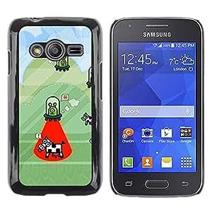 rígido protector delgado Shell Prima Delgada Casa Carcasa Funda Case Bandera Cover Armor para Samsung Galaxy Ace 4 G313 SM-G313F /Cow Abduction Funny Cartoon Conspiracy/ STRONG