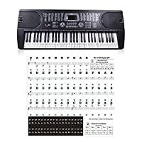 Flower205 Piano and Keyboard Music Transparent 54 61 88 Keys Electronic Keyboard Key Sticker Piano Stave Note Sticker for White Keys for White and Black Keys with Piano Songs Ebook & User Guide Piano Stickers for 54 / 61 / 88 Key Keyboards Transparent and Removable!