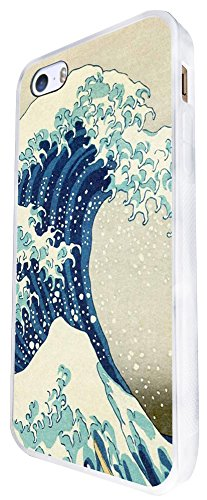 1073 - Cool Fun Great Wave Art Design Design iphone SE - 2016 Coque Fashion Trend Case Coque Protection Cover plastique et métal - Blanc