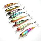 8Pcs/lot 3D Minnow fishing lures 6# Hook Fishing Bait