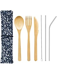 Bamboo Cutlery Set with 8.5 inch Stainless Steel Metal Straw and Cleaner,7.8 inch Bamboo