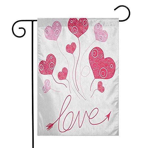 (duommhome Love Garden Flag Valentines Heart Shaped Balloons Party Entertainment Happiness Theme Retro Premium Material W12 x L18 Magenta Rose)