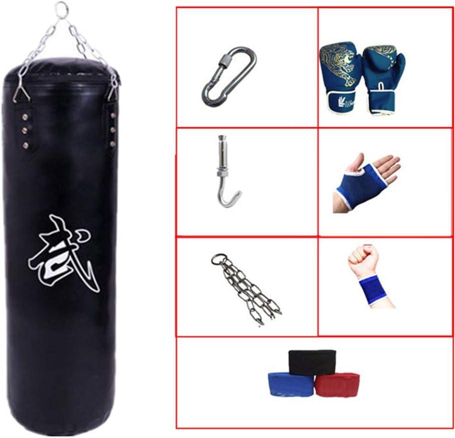 GYFHMY Juego de Boxeo de Patada Lleno de Saco de Boxeo vacío de 47 Pulgadas con 7 Regalos adicionales - Saco de Arena Pesado de Entrenamiento de Muay Thai Artes Marciales, Fitness, Taekwondo