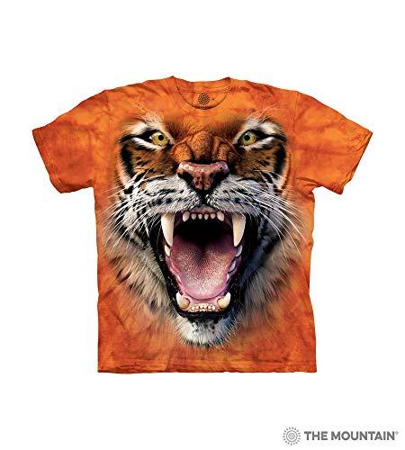 The Mountain Roaring Tiger Face Child T-Shirt, Orange, Medium