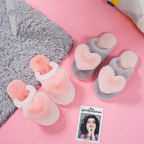 Coréenne couleur Version Pink Automne Épais 40 Taille Gray Belle Cheveux Femelles Intérieur Hiver Td Et De Coton Pantoufles 41yards Fond qwwg6p7