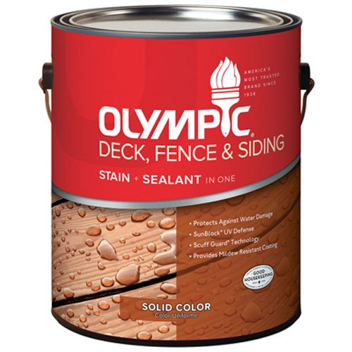 OLYMPIC/PPG ARCHITECTURAL FIN 53203A/01 Solid Color Navajo Red Deck Fence & Siding Stain (Olympic Solid Color Deck Stain)