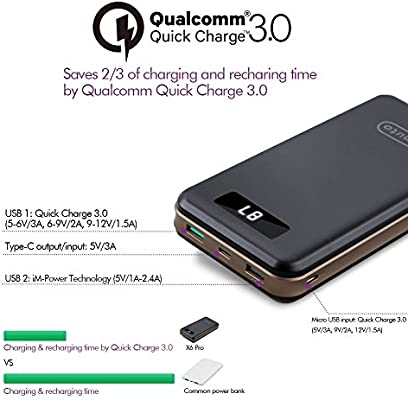 iMuto Portable Charger 30000mAh, Qualcomm Quick Charge 3.0 and USB-C Type-C Ports Power Bank External Battery Pack for Samsung Galaxy S10/S9, iPhone ...
