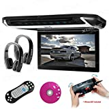 XTRONS 10 HD Digital TFT Monitor Car Roof Flip Down Overhead DVD Player Touch Panel Game Disc HDMI Port Black IR Headphones Included