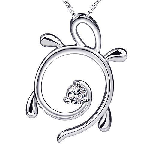 Silver Sea Turtle Necklace - 925 Sterling Silver a Luck Sea Twinkling Turtle Necklace Charm Pendant with White Gold Animal Gifts Jewelry Long Chain for Women or Girls