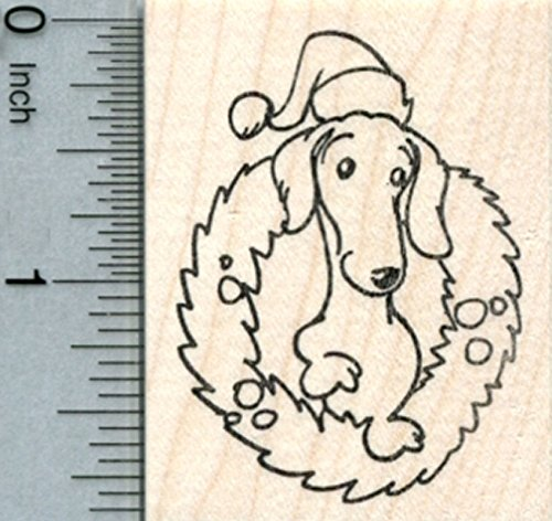 Christmas Dachshund Rubber Stamp, in Wreath and Santa hat ()