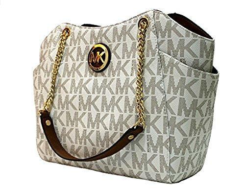 MICHAEL Michael Kors Women's Jet Set Travel Large Chain Shoulder Tote Printed Handbag (Vanilla /Acorn)