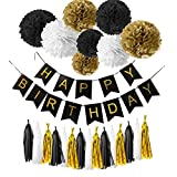 Happy Birthday Bunting Banners, Emango Golden Garlands Pack with 15 Gold Tassels and 8 Tissue Paper Pom Poms Flowerfor Happy Birthday Decorations (Black)