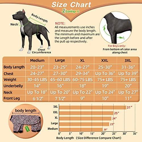 LovinPet - Ropa para perros grandes después de la cirugía / Estampados en rosa neón de guepardo de punto elástico cepillado doble / Protección UV, alivio de la ansiedad de las mascotas, pijama ligero para mascotas / Pijamas para perros de cobertura completa 6