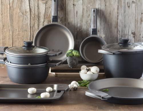BRA - Plancha asador con Rayas y Asas de Silicona,Aluminio Fundido con Antiadherente Teflon Select, aptas para Todo Tipo de cocinas incluida ...
