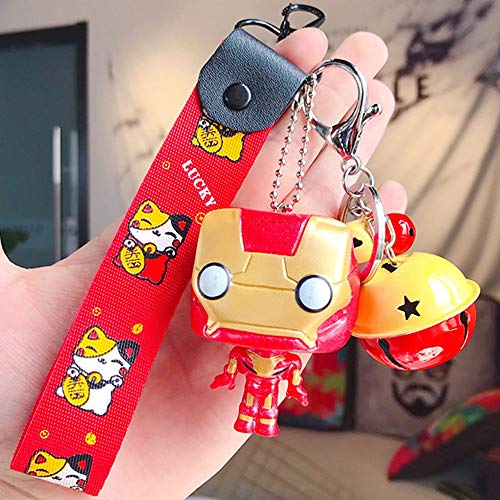 Adobox Super Heros Keychain Avengers Cartoon Pendants Flashlight/Wallet/Knife/Car Key Ring Halloween Birthday Party Cosplay Costume Accessory for Women/Men/Girls/Boys/Kids (Ironman-Keychain)