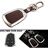 MODIPIM Keyless Entry Remote Cover Zinc Alloy Key Case Fob Holder Shell Smart Remote Key Cover For Cadillac CT6 PLUG-IN ATS XT5 XTS Escalade ATS-L CTS 2014 2015 2016 2017 Color Brown