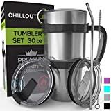 Stainless Steel Travel Mug with Handle 30oz - 6 Piece Set. Tumbler with Handle, Straw, Cleaning Brush & 2 Lids. Double Wall Insulated Large Coffee Mug Bundle