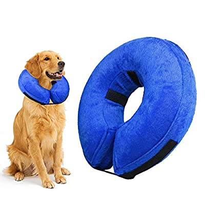 luweizhubao Protective Inflatable Collar for Dogs and Cats - Soft Pet Recovery Collar & Cones Does Not Block Vision E-Collar (Blue)
