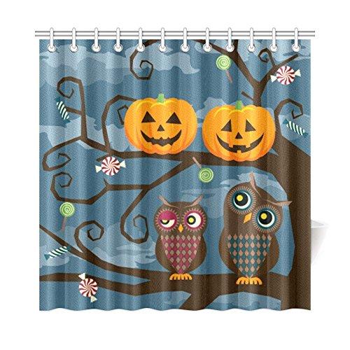 INTERESTPRINT Cute Owl Couple and Halloween Pumpkin Home Decor, Autumn Holiday Greeting Polyester Fabric Shower Curtain Bathroom Sets 72 X 72 -