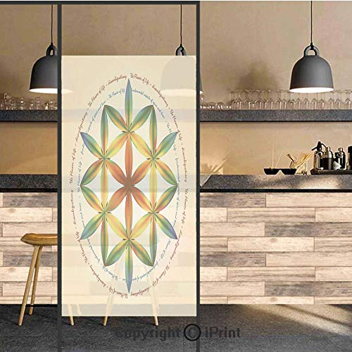 3D Decorative Privacy Window Films,Symbol of Fundamental Aspect of Space and Time Esoteric New Spiral Print,No-Glue Self Static Cling Glass Film for Home Bedroom Bathroom Kitchen Office 24x71 Inch