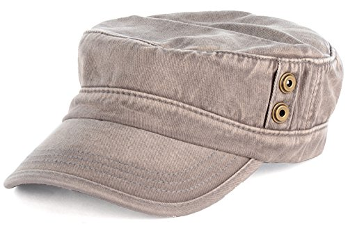 BYOS Classic Washed Military Cadet Army Cap Hat Flap Top Various Styles (Washed Tan) - Beige Classic Flap