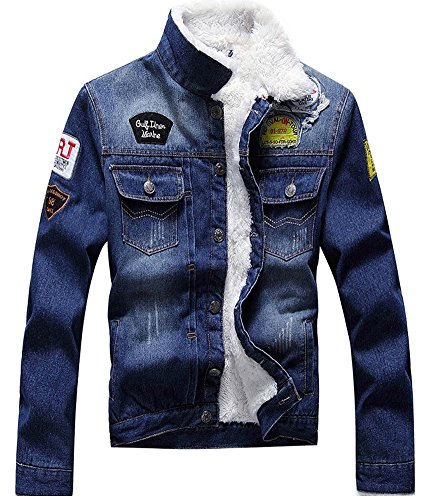 LifeHe Winter Fleece Lined Fur Collar Men Denim Jacket With Patches (S, Deep Blue)