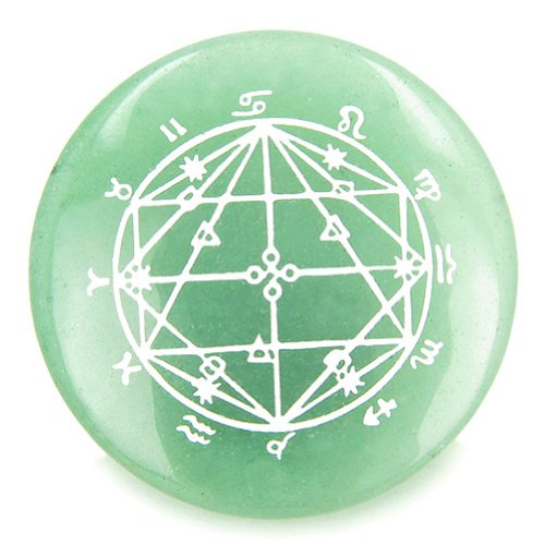 Astrological Seal Zodiac Star of David Amulet Green Quartz Circle Spiritual Powers Individual Totem (Seal Zodiac)
