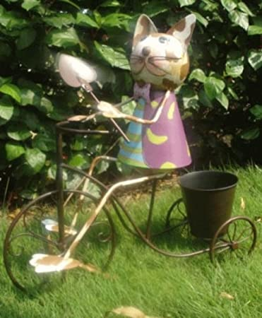 HAPPY de metal diseño de gato en bicicleta - con maceta: Amazon.es ...