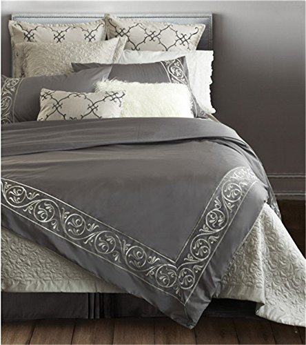 Adream 100% Sateen Cotton Embroidery Stripe Bedding Set Double Duvet Cover Set (Stripe Double Duvet Set)