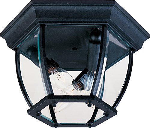 Maxim 1029BK Maxim 3-Light Outdoor Ceiling Mount, Black Finish, Clear Glass, CA Incandescent Incandescent Bulb , 60W Max., Dry Safety Rating, Standard Dimmable, Fabric Shade Material, 6048 Rated Lumens from Maxim Lighting