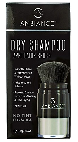 Ambiance Dry Shampoo (No Tint/Gray Hair Formula) – All-Natural, Volumizing Powder Absorbs Oil While Boosting Body and (Dry Shampoo Brush)