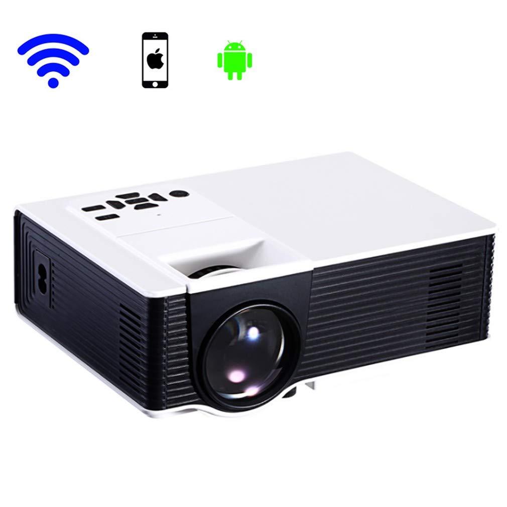 プロジェクター、家庭用ポータブルマイクロプロジェクター、携帯電話Androidビデオプロジェクター、LED、HD、1080 P、WiFi、大画面ディスプレイ、サポートUSB/AV/HDMI/VGA B07SM7YFPH